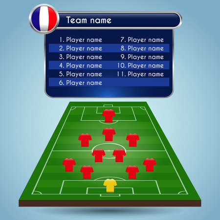 Broadcast Graphics for Sport Program. Football Soccer arrangement of players and staff in the game. Football formation and playfield. Digital background vector illustration. Infographic