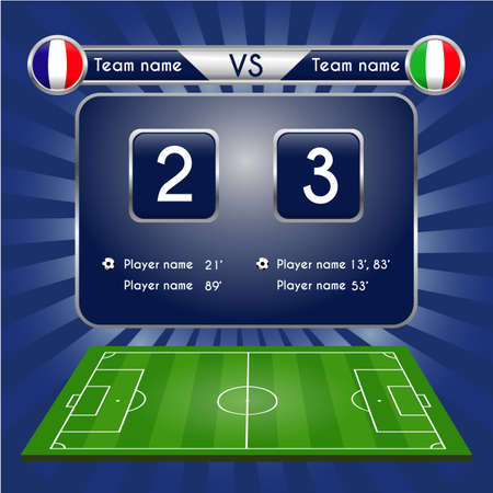 Broadcast graphic for football final score. Football Soccer Match Statistics. Scoreboard and football playfield. France versus Italy Team. Digital background vector illustration. Infographic 向量圖像