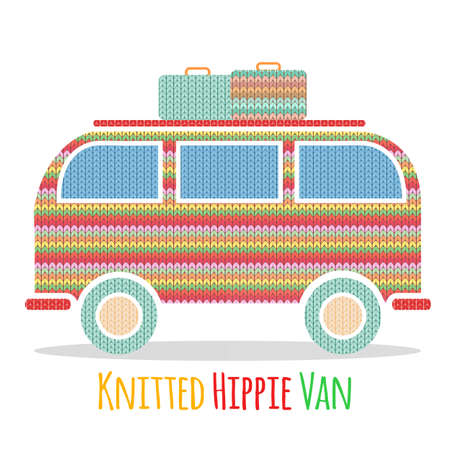 Knitted colorful vintage hippie van. Vector illustration of vintage camper van
