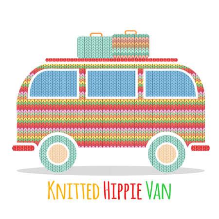 Knitted colorful vintage hippie van. Vector illustration of vintage camper van Reklamní fotografie - 108835703