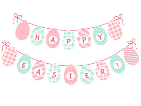 Cute Easter bunting with eggs and hand written text Easter for your decoration Ilustração