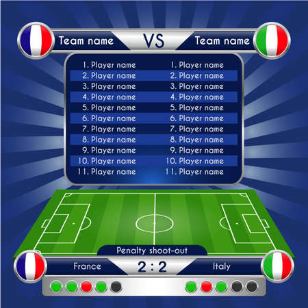 Broadcast Graphics for Sport Program. Football Soccer Match Statistics. Scoreboard, penalty shoot-out and football stadium playfield backdrop. France versus Italy Team. Digital background vector illustration. Infographic