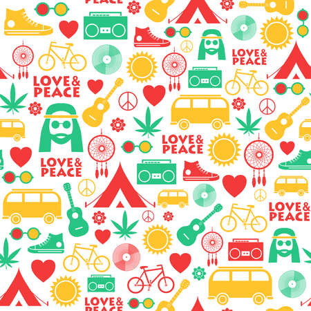 Seamless pattern with colorful hand drawn hippie objects. Vector illustration
