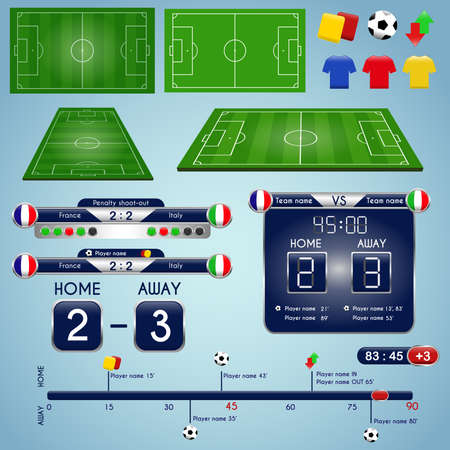 Broadcast Graphics for Sport Program. Soccer match statistics template. Football elements and play field, timeline with scoreboard. Match Infographic. Vector illustration.