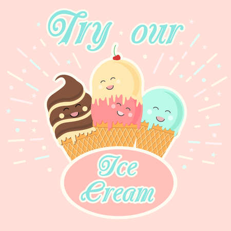 Set of cards with cute cartoon ice cream character. Vector illustration