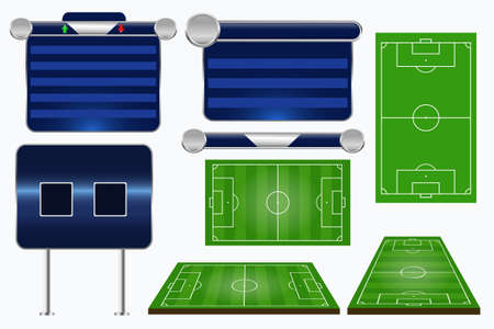 Broadcast Graphics for Sport Program. Soccer match template. Football elements and play fields. Match Infographic. Vector illustration.