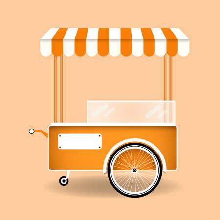 Lebensmittel Straßenkarren. Cartoon-Eis, Hot Dog, Popcorn-Retro-Auto. Flache Vektorillustration des Snacks-Lebensmittelmarktes. Vektorgrafik