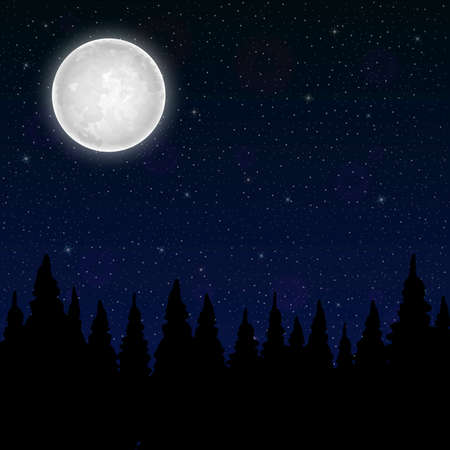 Full moon on the background night sky with stars. Vector illustration