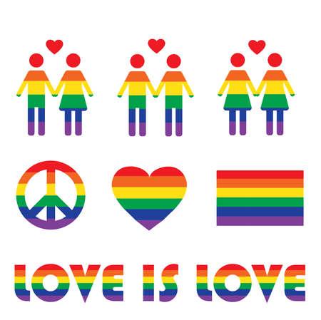 Iconos y símbolos de los derechos de LGBT del arco iris del vector. Ilustración de amor y bandera homosexual.