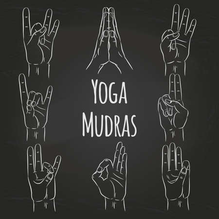 Set of vector mudras hands on black chalkboard background Vectores
