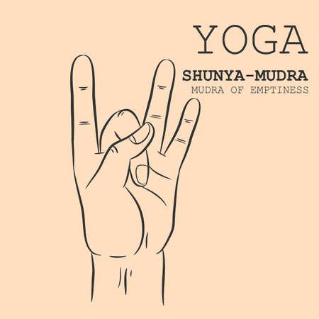 Hand in yoga mudra. Shunya-Mudra. Vector illustration.