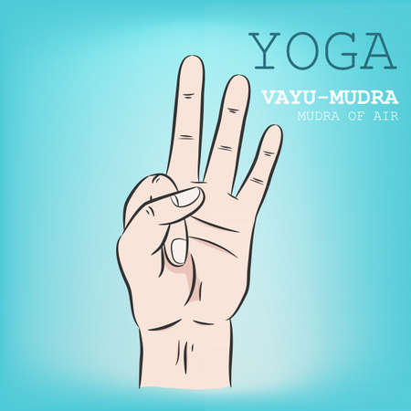 Hand in yoga mudra. Vayu-Mudra. Vector illustration.