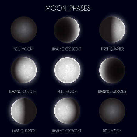 Moon phases night space astronomy. The whole cycle from new moon to full moon. Vector illustration Vettoriali