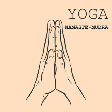 Hand in yoga mudra. Namaste-Mudra. Vector illustration.