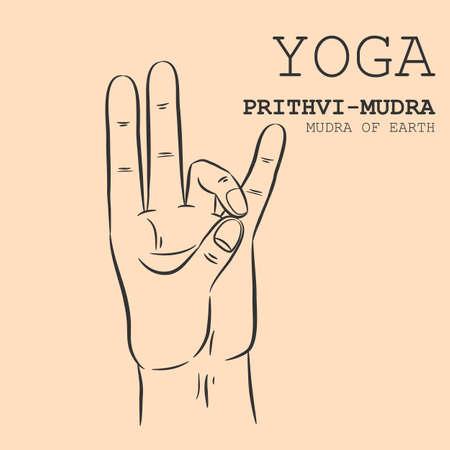 Hand in yoga mudra. Prithvi-Mudra. Vector illustration.