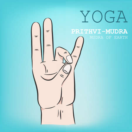 Hand in yoga mudra. Prithvi-Mudra. Vector illustration.