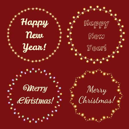 Christmas Lights Frames for Celebratory Design. Vector illustration
