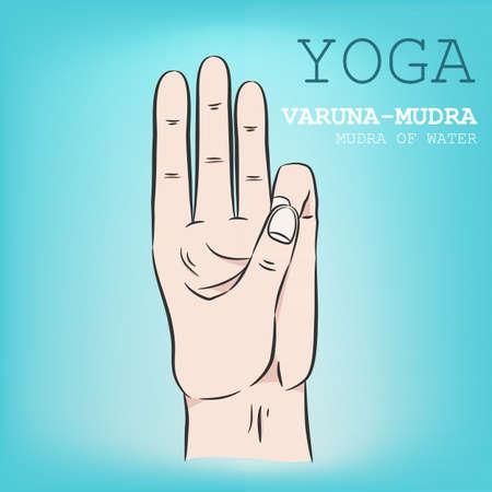 Hand in yoga mudra. Varuna-Mudra. Vector illustration.