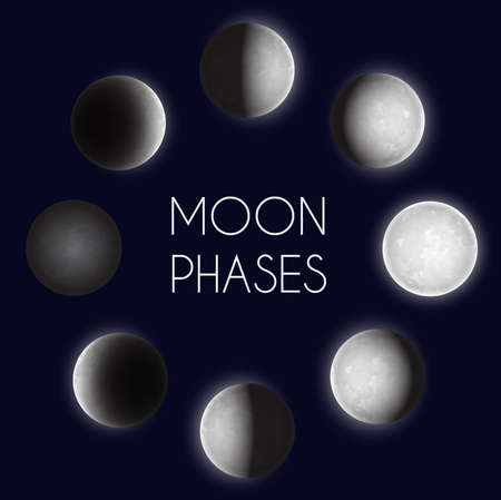 Moon phases night space astronomy. The whole cycle from new moon to full moon. Vector illustration 일러스트