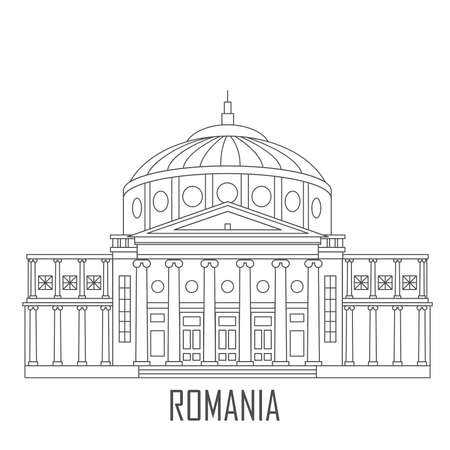Facade of Romanian Athenaeum. Historic architecture. Romania landmark. Travel sightseeing collection. Flat cartoon style. Vector illustration