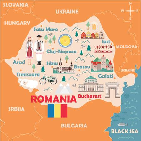 Mapa estilizado de Rumania. Ilustración de viaje con monumentos rumanos, arquitectura, bandera nacional y otros símbolos de estilo plano. Ilustración vectorial