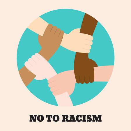 Detener el icono de racismo. Cartel motivacional contra el racismo y la discriminación. Muchas manos de diferentes razas juntas en un círculo. Ilustración vectorial