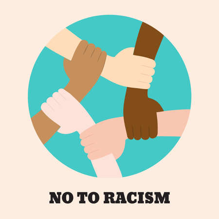 Stop racism icon. Motivational poster against racism and discrimination. Many hands of different races together in a circle. Vector Illustration