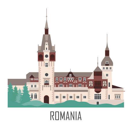 Peles Castle in Romania. Historic architecture. Romania landmark. Travel sightseeing collection. Flat cartoon style. Vector illustration