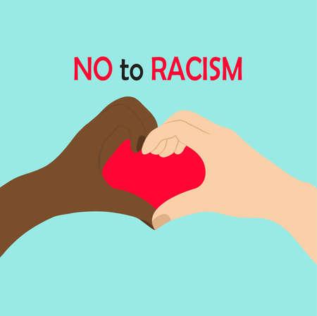 Manos en blanco y negro en forma de corazón, amistad interracial