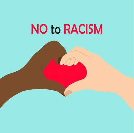 Black and white hands in heart shape, interracial friendship Illustration