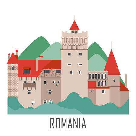 Zamek Drakuli. Punkt orientacyjny Rumunii. Kolekcja zwiedzania podróży. Płaski styl kreskówek. Ilustracja wektorowa