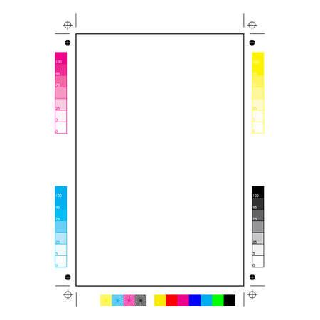 Plain paper with all the printer marks: printing, cutting and calibration Illustration