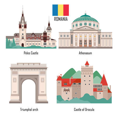 Romania set of landmark icons in flat style: Peles Castle, Athenaeum, Triumphal arch and Castle of Dracula. Historic architecture. Romania landmark. Travel sightseeing collection. Flat cartoon style. Vector illustration 向量圖像