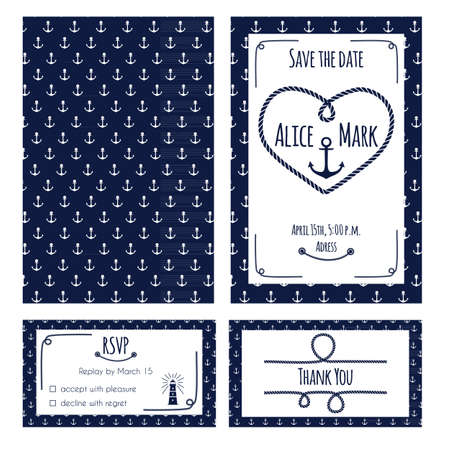 Nautical wedding invitation and RSVP card template. Lighthouse, anchor and rope elements. Vector illustration.  イラスト・ベクター素材