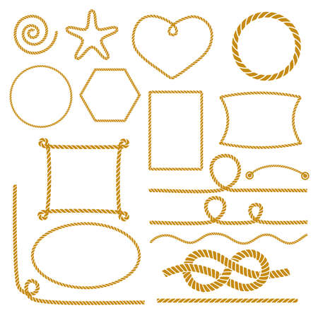Set of nautical marine rope knots, corners and frames. Decorative elements in nautical style. Vector illustration. Illustration