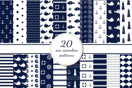 Set of sea backgrounds in dark blue and white colors. Seamless patterns. Vector illustration. Ilustração