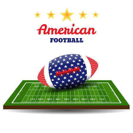American football ball with flag on field. Rugby background. Vector illustration
