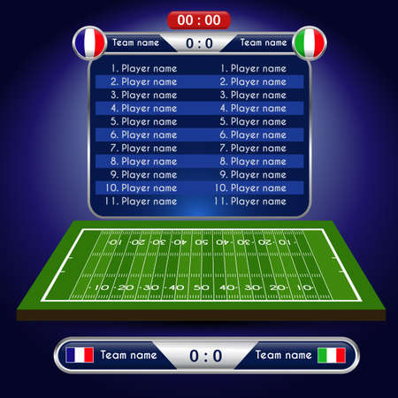 American Football field. Player Lineup with set of infographic elements. Vector illustration.