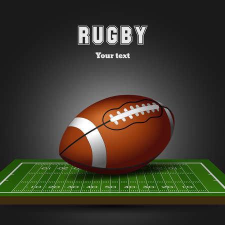 American football ball on field. Rugby black background. Vector illustration Illustration