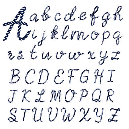 Letters made from nautical rope. Hand written font, alphabet. Vector illustration