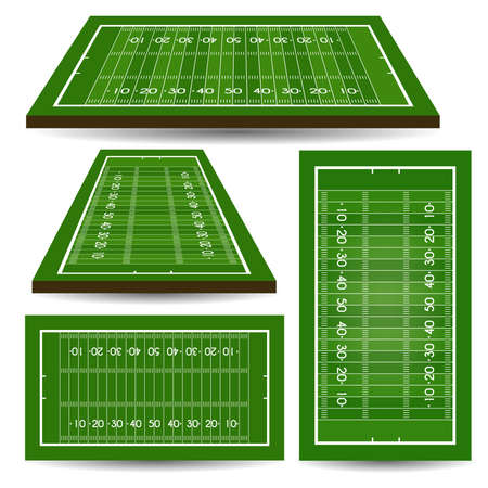Set of rugby fields with perspective. American football. Vector illustration. Illustration