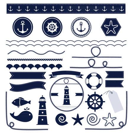 Conjunto de elementos náuticos y marinos aislado sobre fondo blanco. Ilustración vectorial.