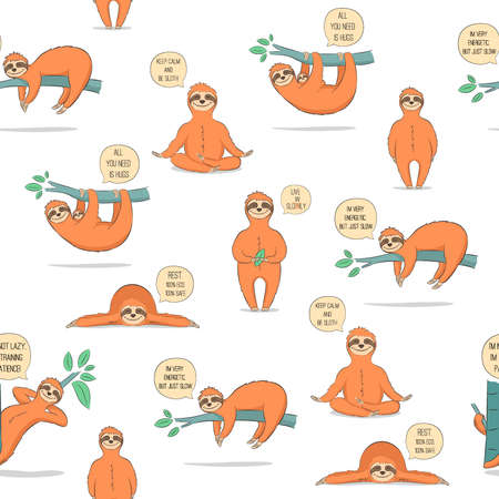 Seamless pattern with cute cartoon sloth. Vector illustration