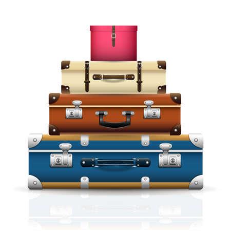 Arrière-plan avec de vieilles valises vintage rétro fermées. sac de voyage réaliste 3D. Illustration vectorielle