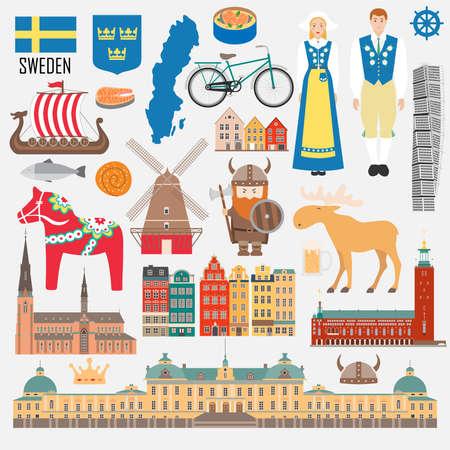 Set with design elements of symbols of Sweden and map. Vector illustration Illustration