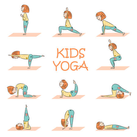 Kids yoga set with cute cartoon girl in different yoga poses. Flat design. Vector illustration Illustration