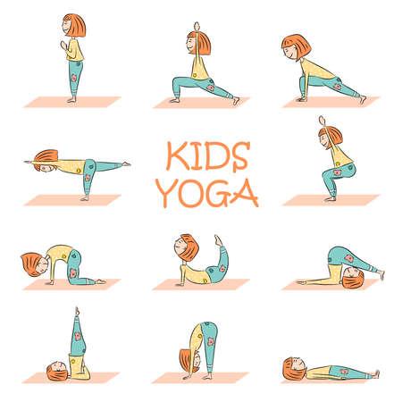 Yoga para niños con linda chica de dibujos animados en diferentes poses de yoga. Diseño plano. Ilustración vectorial