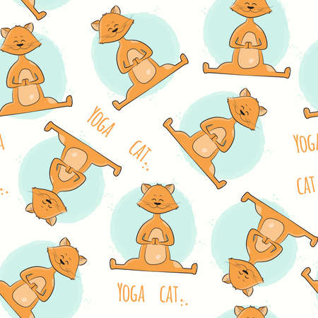Seamless pattern with cute cartoon cat in yoga pose. Namaste. Vector illustration