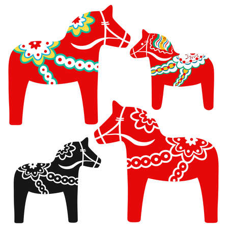 Set of red dala horses - national symbol of Sweden from Dalarna. Vector illustration