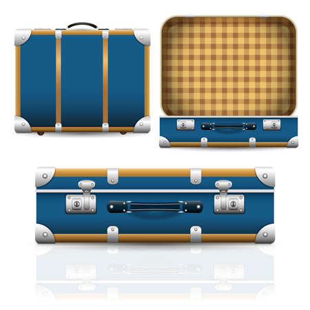 Open and closed old retro vintage suitcase. Set of 3d travel bag realistic icons. Vector illustration